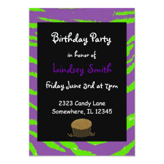 Purple and Green Tiger Stripes Birthday Invitation