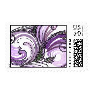 Purple and Green Versailles Swirl Postage