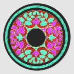 Purple and Green Victorian Leaves Ornament Classic Round Sticker