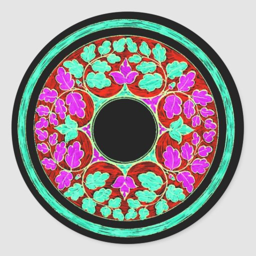 Purple and Green Victorian Leaves Ornament Round Sticker