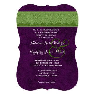 Purple and Green Vintage Damask Ribbon Wedding V31 Personalized Invitation