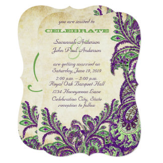 Purple and Green Vintage Peacock Paisley Wedding Card