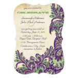Purple and Green Vintage Peacock Paisley Wedding Custom Invites