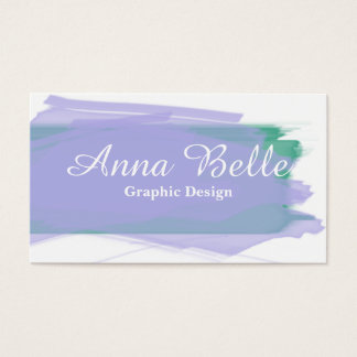 Purple and Green Watercolor Business Card