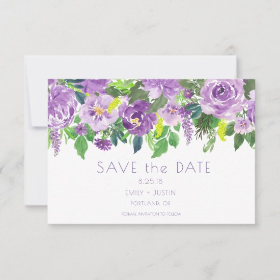 Purple and Green Watercolor Floral Save the Date |