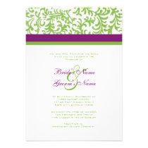 Purple and Green Wedding Invitation
