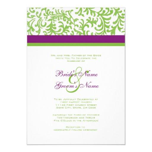 "Purple and Green Wedding Invitation 5"" X 7"" Invitation Card"