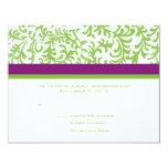 Purple and Green Wedding RSVP 4.25x5.5 Paper Invitation Card