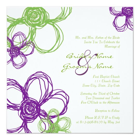 Wild Flowers For Wedding: Purple And Green Wild Flowers Wedding Invitation