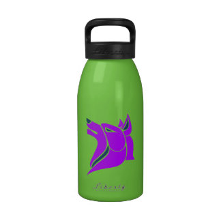 Purple and Green Wolf Head Design Water Bottles