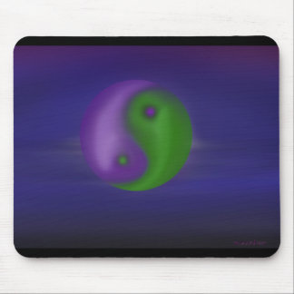 Purple and green ying and yang sky mouse pad