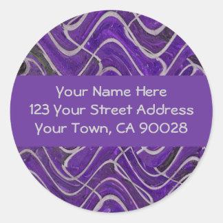 purple and grey address labels classic round sticker