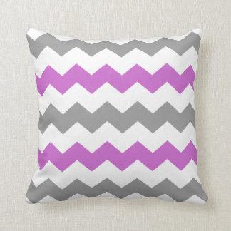 Purple and Grey Chevron Throw Pillow
