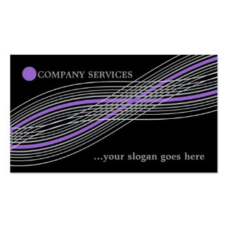 Purple and grey crossed curved lines and circle business cards