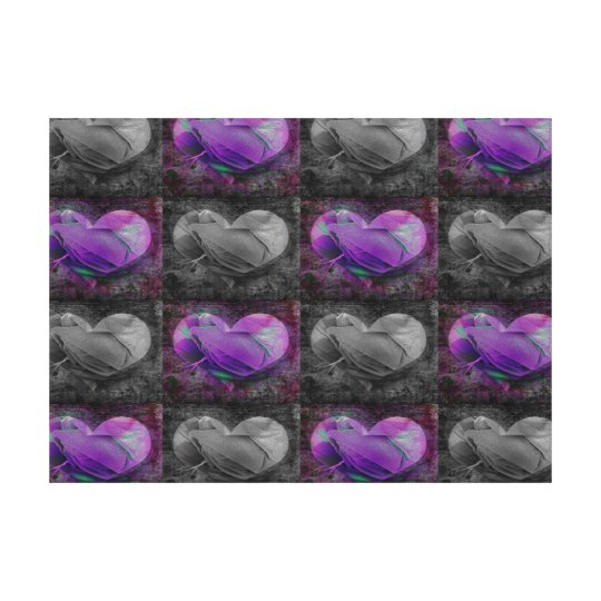 Purple And Grey Hearts Canvas Print