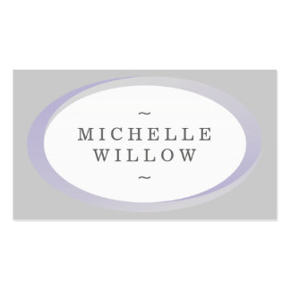 Purple and Grey Name Oval Frame Business Card