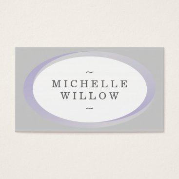 Professional Business Purple and Grey Name Oval Frame Business Card