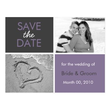 Beach Themed Purple and Grey Save the Date Photo Postcards