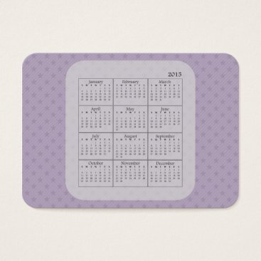 Professional Business Purple and Grey Stars 2015 Calendar Business Card