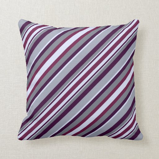 Purple And Gray Decorative Pillows : Purple and Grey Stripes Pillows Zazzle