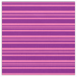 [ Thumbnail: Purple and Hot Pink Colored Striped/Lined Pattern Fabric ]