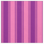 [ Thumbnail: Purple and Hot Pink Colored Striped Pattern Fabric ]