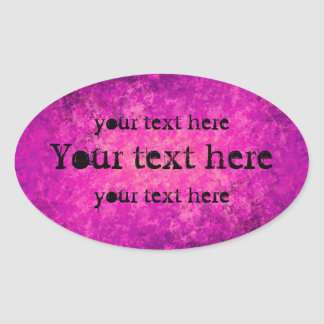 Purple and hot pink grungy punk large oval oval sticker