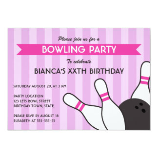 Purple and hot pink modern bowling birthday party 5x7 paper invitation card