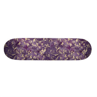 Purple and Irvory Scroll Skateboard Deck
