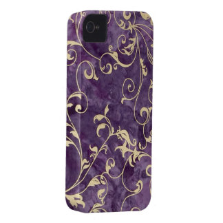 Purple and Ivory Swirl iPhone 4 Case-Mate Case