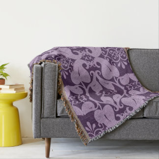 Purple And Lavender Floral Pattern Throw Blanket
