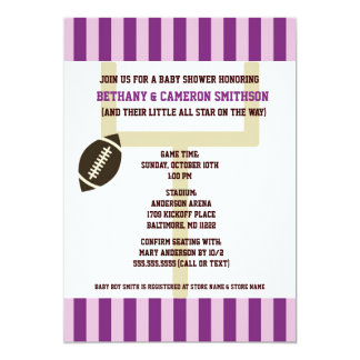 Purple and Lavender Football Baby Shower Invites