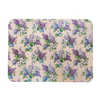 Purple and Lavender Lilacs on Vintage Wallpaper Rectangular Photo Magnet