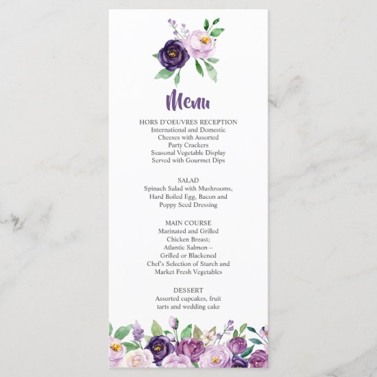 Purple and Lavender Roses Wedding Menu