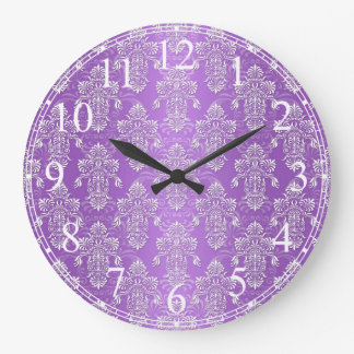 Purple and Lavender Two Tone Damask Large Clock