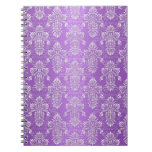 Purple and Lavender Two Tone Damask Spiral Note Books