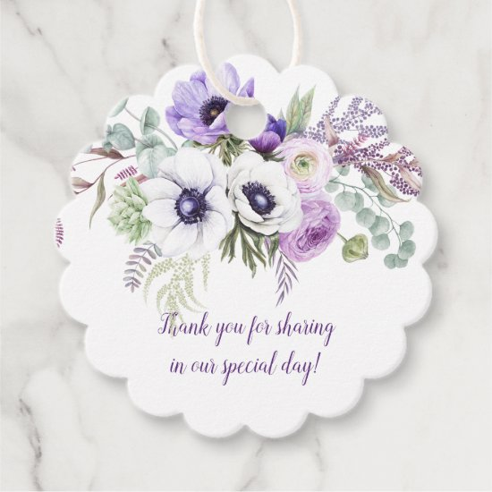 Purple and Lavender Watercolor Flowers Wedding | Favor Tags