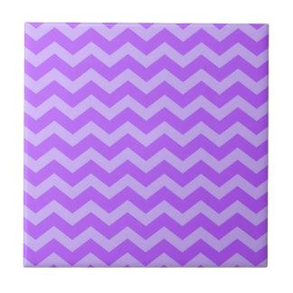 Purple and Lavender Zigzags Ceramic Tile