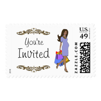 Purple And Leopard Print African American Mommy Postage Stamp