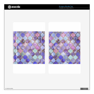 Purple and Light Blue Moroccan Tile Pattern Decals For Kindle Fire