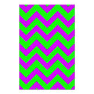 Purple And Light Green Chevrons Stationery