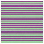 [ Thumbnail: Purple and Light Green Striped Pattern Fabric ]