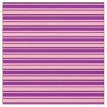 [ Thumbnail: Purple and Light Pink Lined Pattern Fabric ]