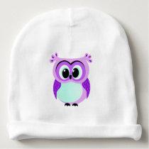 Purple and lilac baby owl cartoon baby beanie