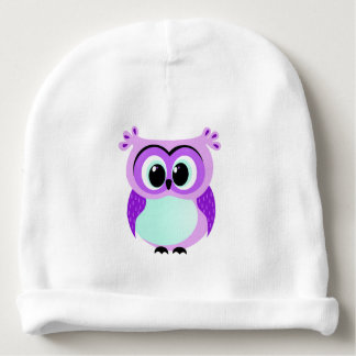 Purple and lilac baby owl cartoon baby beanie