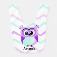 Purple and lilac baby owl cartoon baby bib