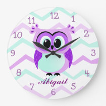 Purple and lilac baby owl cartoon large clock