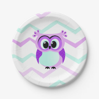 Purple and lilac baby owl cartoon 7 inch paper plate