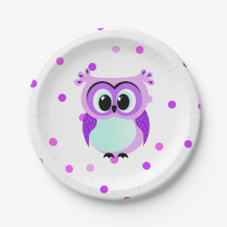 Purple and lilac baby owl cartoon with pink and li paper plate