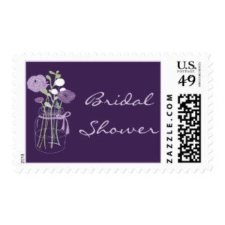Purple and Lilac Mason Jar Bridal Shower Stamps